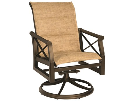 Woodard Andover Padded Sling Swivel Rocking Dining Chair