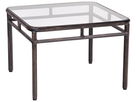 Woodard Nob Hill Aluminum 26 Square Glass Top End Table