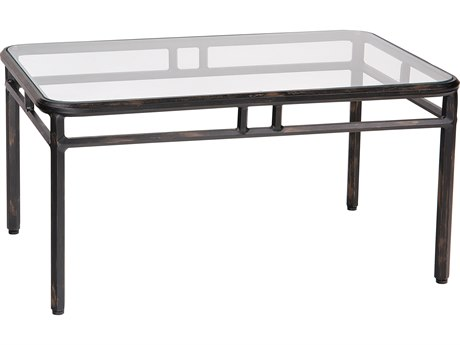 Woodard Nob Hill Aluminum 36 x 24 Rectangular Glass Top Coffee Table