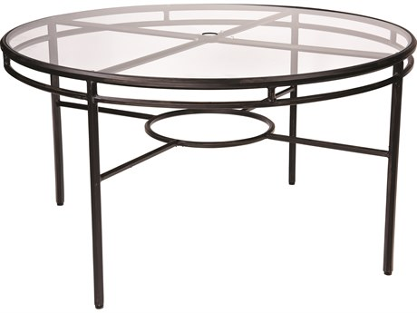 Woodard Nob Hill Aluminum 54 Round Glass Top Table with Umbrella Hole