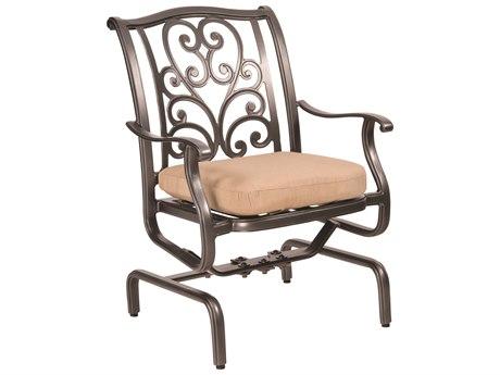Woodard New Orleans Cast Aluminum Spring Rocker Dining Arm Chair
