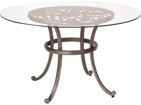 Woodard New Orleans Cast Aluminum 48 Round Glass Top Table with Umbrella Hole