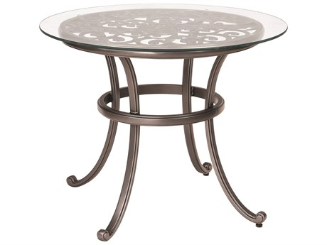 Woodard New Orleans Cast Aluminum 36 Round Glass Top Bistro Table