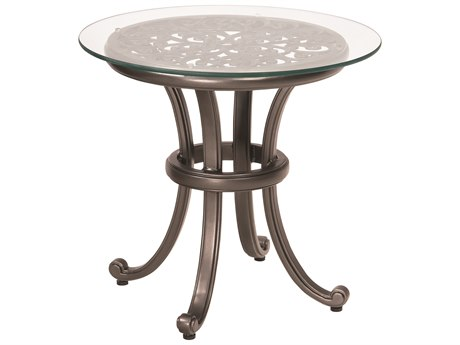 Woodard New Orleans Cast Aluminum 24 Round Glass Top End Table