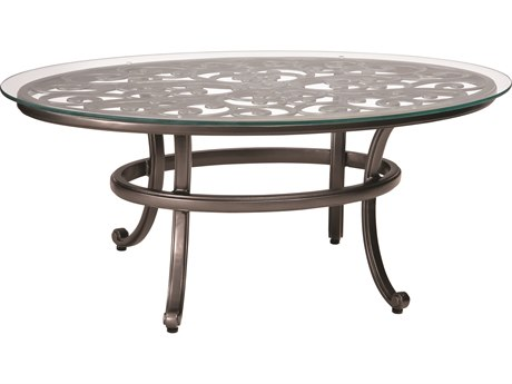 Woodard New Orleans Cast Aluminum 52 x 28 Round Glass Top Coffee Table