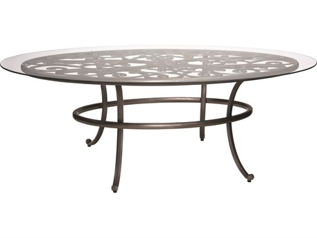 Woodard New Orleans Cast Aluminum 84 x 48 Oval Glass Top Table with Umbrella Hole