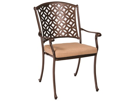 Woodard Casa Cast Aluminum Dining Arm Chair w/ Seat Cushions