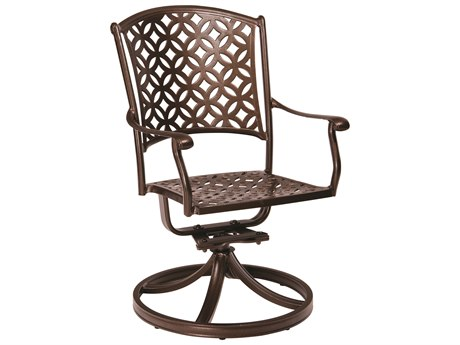 Woodard Casa Cast Aluminum Swivel Rocking Dining Arm Chair