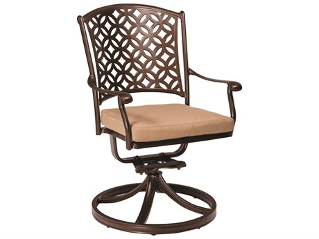 Woodard Casa Cast Aluminum Swivel Rocking Dining Arm Chair with Optional Seat Cushions