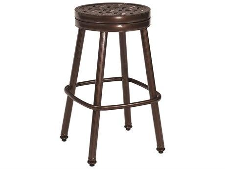 Woodard Casa Cast Aluminum Round Swivel Bar Stool w/ Seat Cushion