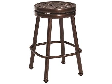Woodard Casa Cast Aluminum Round Swivel Counter Stool w/ Seat Cushion