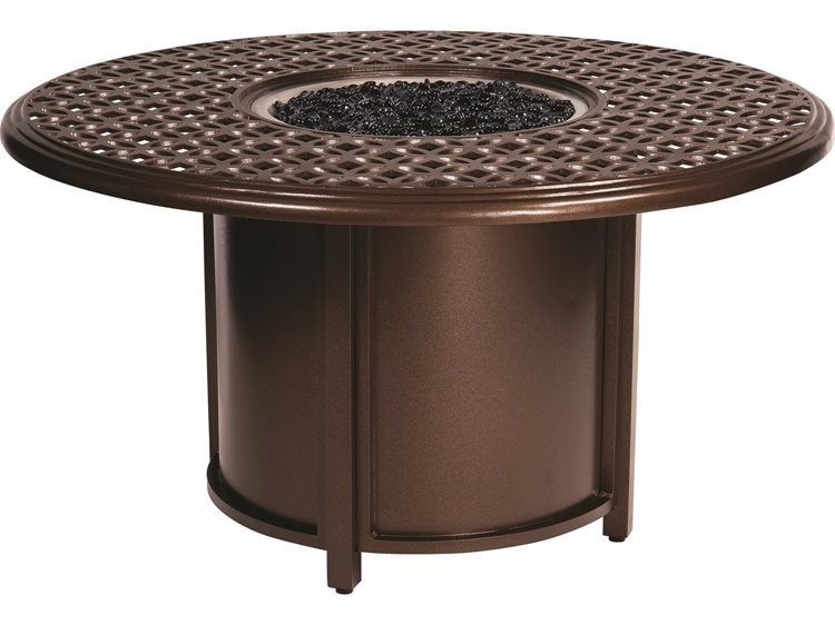 Woodard Casa Cast Aluminum Fire Table with Round Chat Height Fire Table and Round Burner
