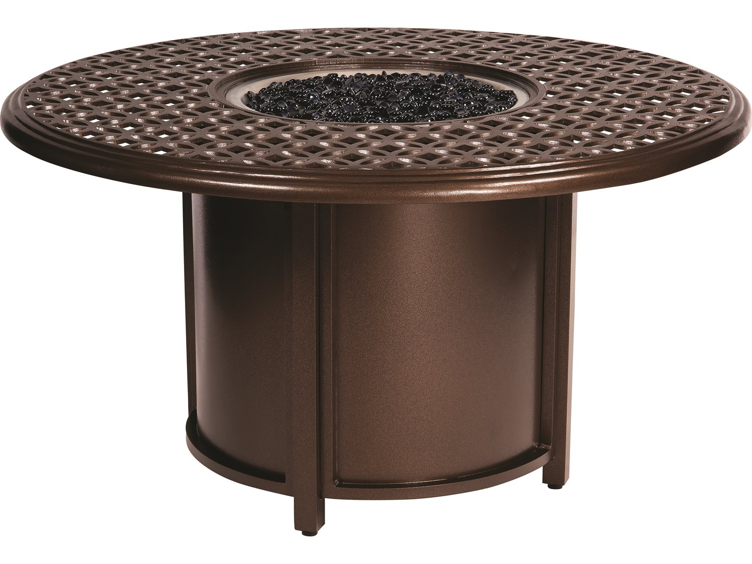 Woodard Casa Cast Aluminum Fire Table With Round Chat