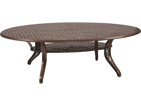 Woodard Casa Cast Aluminum 98.50 x 70 Oval Dining Table with Umbrella Hole PatioLiving