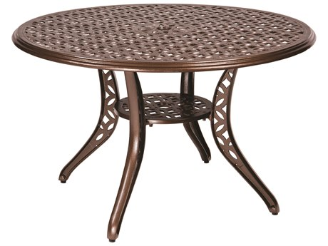Woodard Casa Cast Aluminum 48 Round Dining Table with Umbrella Hole