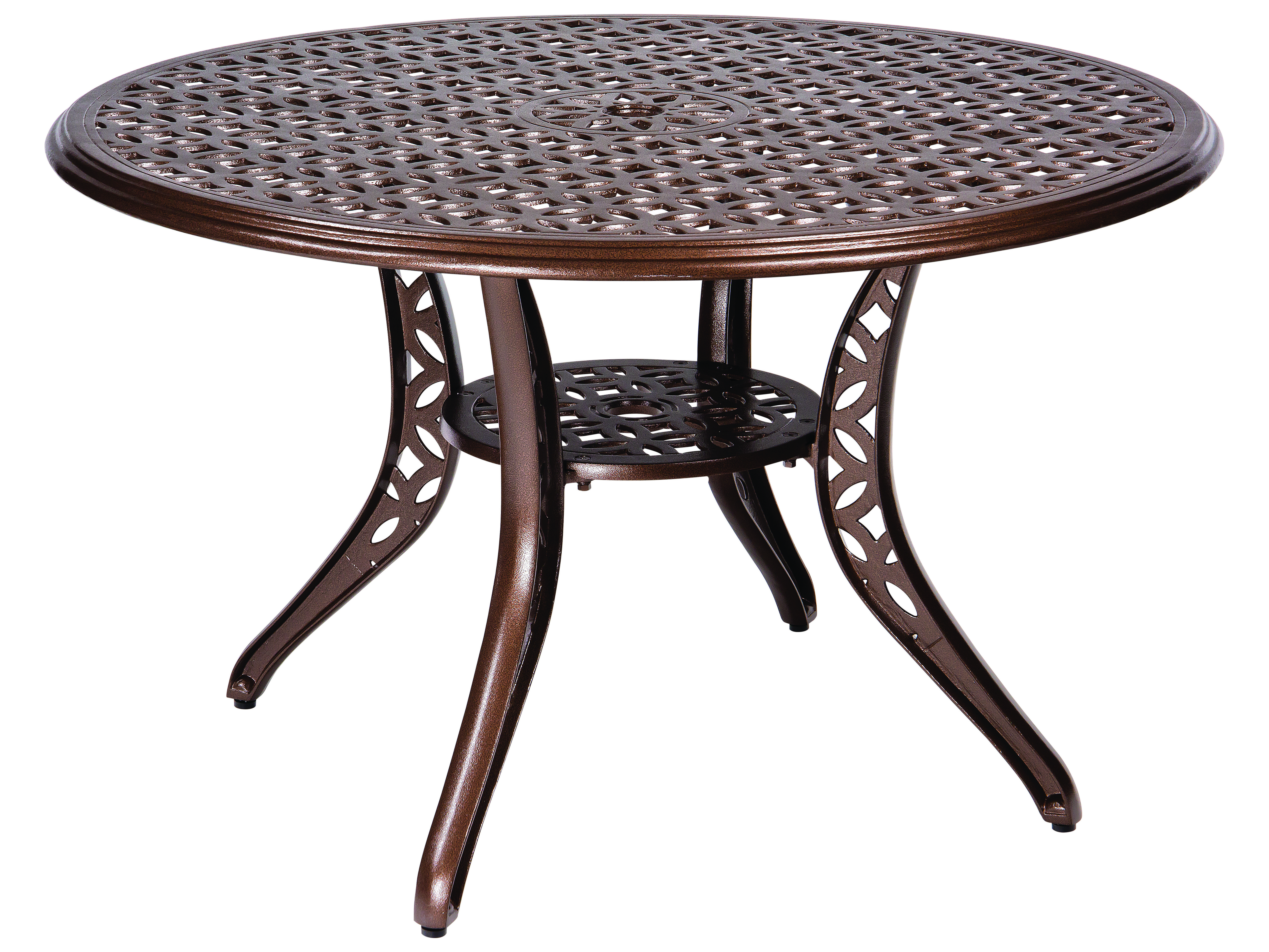 Woodard Casa Cast Aluminum 48 Round Dining Table With