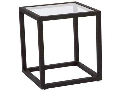 Woodard Salona By Joe Ruggiero Aluminum 20.3 Square Clear Glass Top End Table