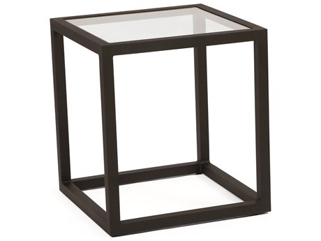 Woodard Salona By Joe Ruggiero Aluminum 20.3 Square Clear Glass Top End Table PatioLiving