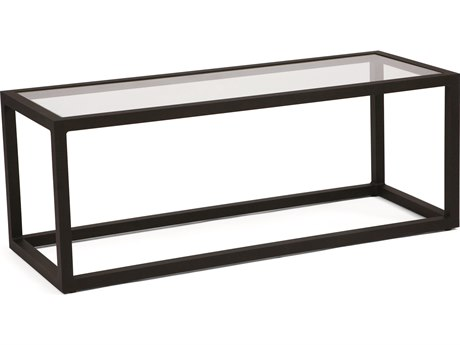 Woodard Salona By Joe Ruggiero Aluminum 43''W x 21''D Rectangular Glass Top Coffee Table PatioLiving