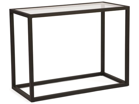 Woodard Salona By Joe Ruggiero Aluminum 48 x 18 Rectangular Console Table with Clear Glass Top WR3Z0476