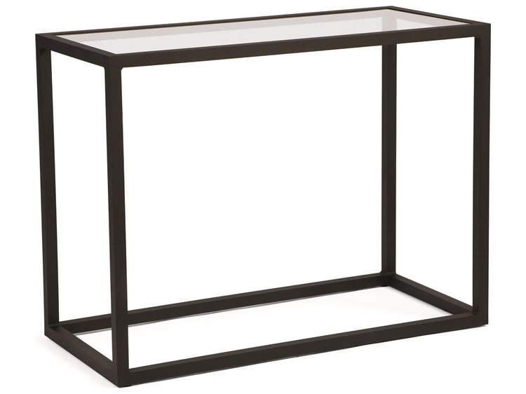 Woodard Salona By Joe Ruggiero Aluminum 48 x 18 Rectangular Console Table with Clear Glass Top
