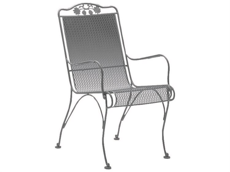 Woodard Briarwood Wrought Iron High Back Dining Arm Chair w/ Seat & Back Cushion