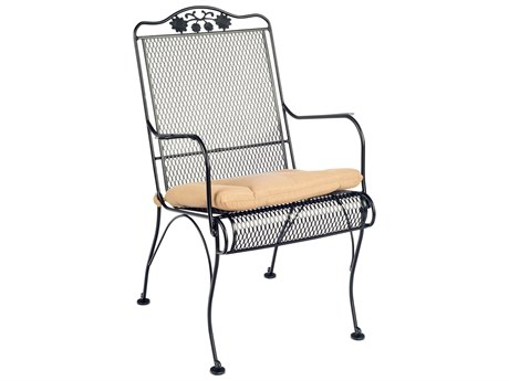 Woodard Briarwood Wrought Iron High Back Dining Arm Chair w/ Seat Cushion