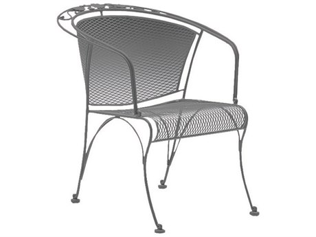 Woodard Briarwood Wrought Iron Barrel Dining Arm Chair with Cushion PatioLiving
