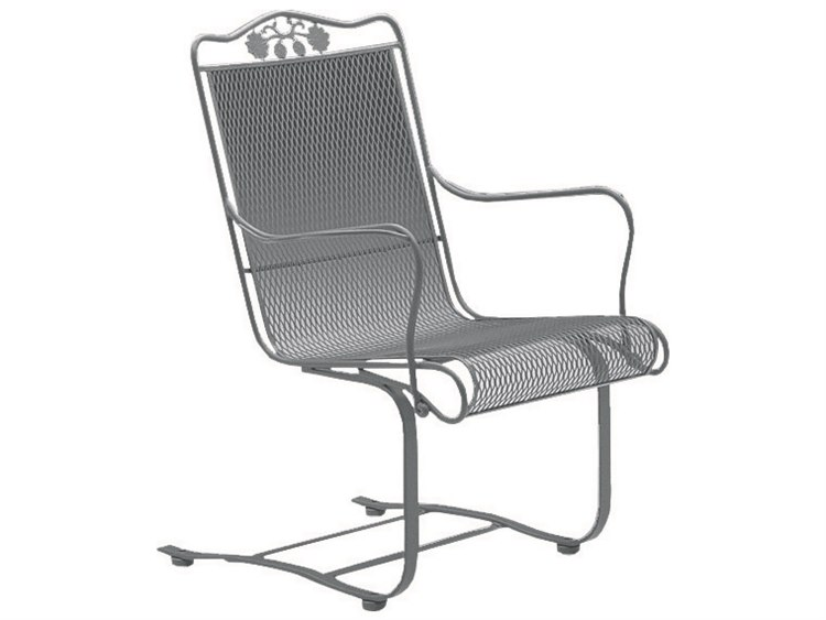 Woodard Briarwood Wrought Iron High Back Spring Lounge Chair with Cushion PatioLiving