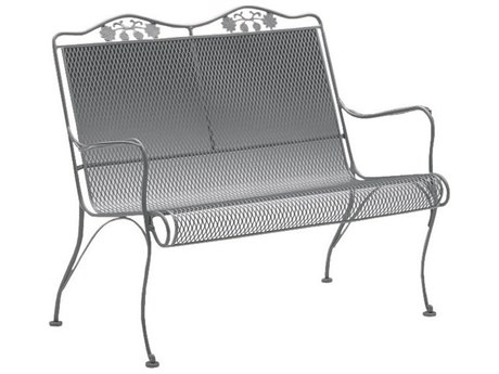 Woodard Briarwood Wrought Iron High Back Love Seat with Cushion PatioLiving