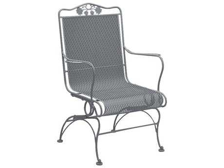 Woodard Briarwood Wrought Iron High Back Coil Spring Chair