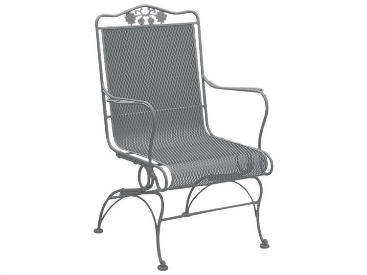 Woodard Briarwood Wrought Iron High Back Coil Spring Lounge Chair with Cushion PatioLiving