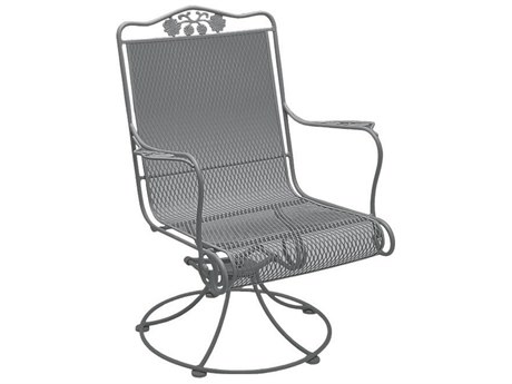 Woodard Briarwood Wrought Iron High Back Swivel Rocker PatioLiving