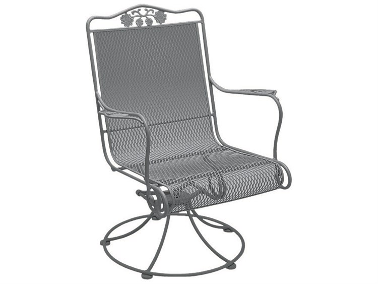 Woodard Briarwood Wrought Iron High Back Swivel Rocker Dining Arm Chair PatioLiving