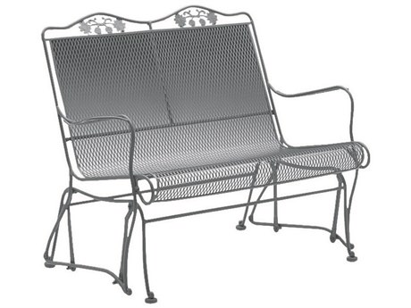 Woodard Briarwood Wrought Iron High Back Gliding Loveseat with Cushion PatioLiving