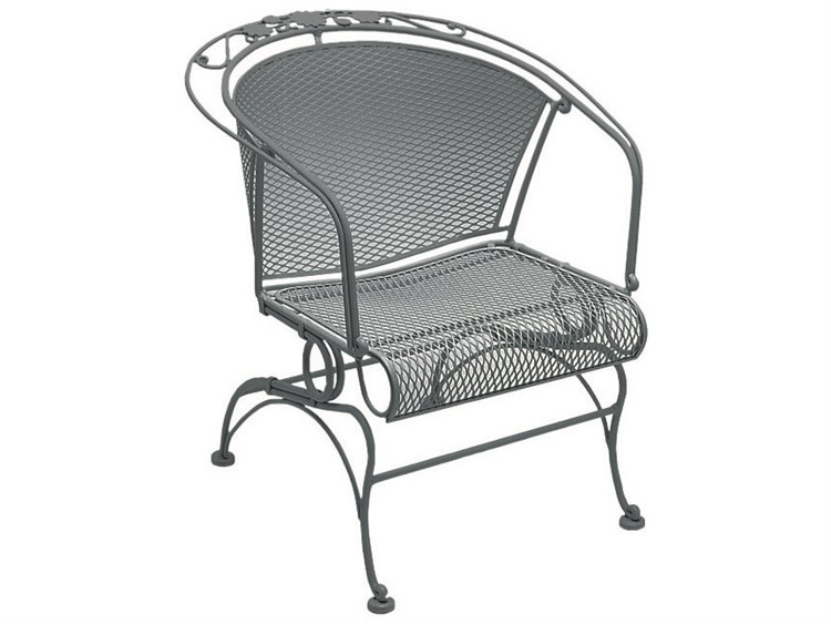 Woodard Briarwood Wrought Iron Coil Spring Barrel Dining Arm Chair with Cushion PatioLiving
