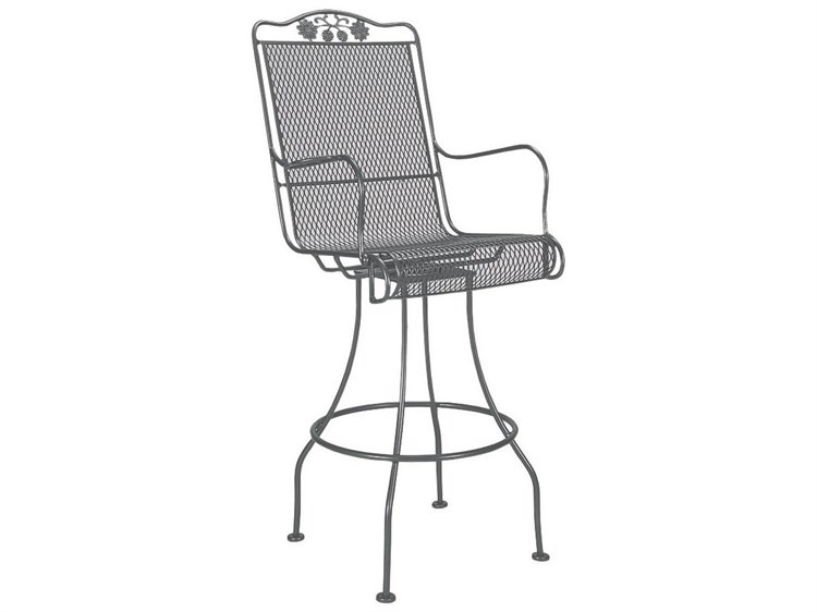 Woodard Briarwood Wrought Iron Swivel Bar Stool