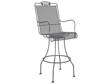 Woodard Briarwood Wrought Iron Swivel Bar Stool with Cushion