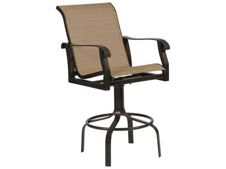 Woodard Cortland Sling Aluminum Swivel Bar Stool