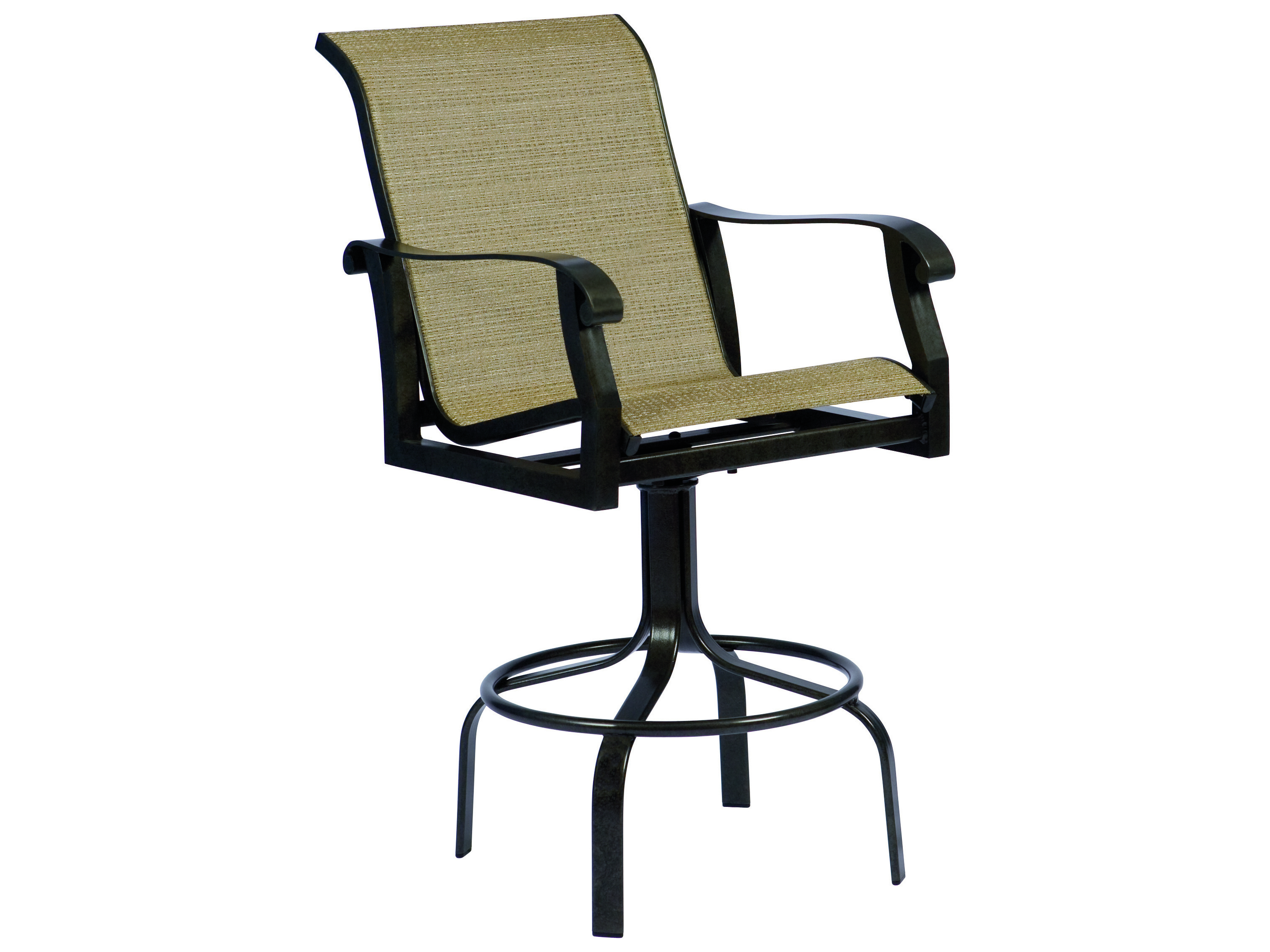 Woodard Cortland Sling Aluminum Swivel Bar Stool 420468