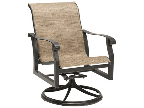 Woodard Cortland Sling Aluminum Swivel Rocker Dining Arm Chair