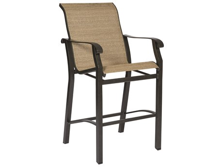 Woodard Cortland Sling Aluminum Stationary Bar Stool