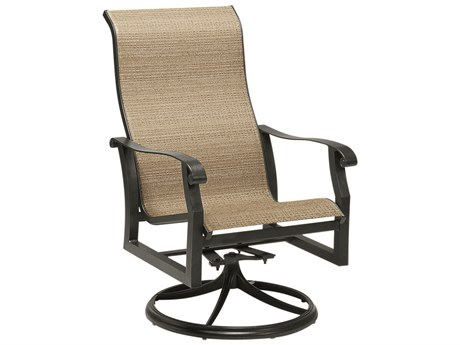Woodard Cortland Sling Aluminum High Back Swivel Rocker Dining Arm Chair