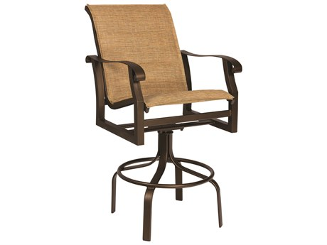 Woodard Cortland Padded Sling Aluminum Swivel Bar Stool