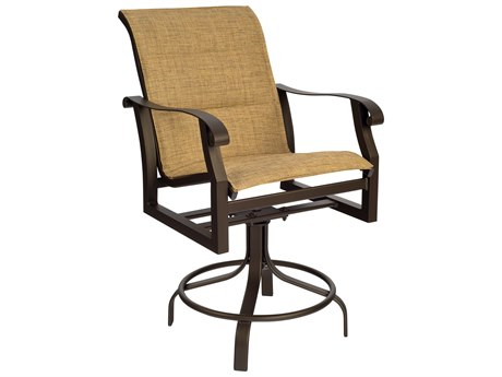 Woodard Cortland Padded Sling Aluminum Swivel Counter Stool
