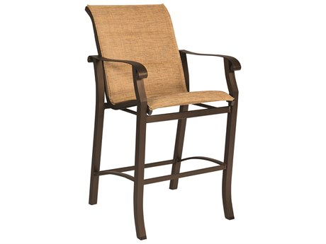 Woodard Cortland Padded Sling Aluminum Bar Stool
