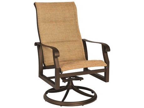 Woodard Cortland Padded Sling Aluminum High Back Swivel Rocker