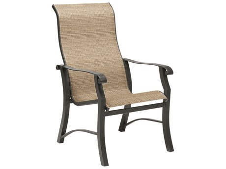 Woodard Cortland Sling Aluminum High Back Dining Arm Chair