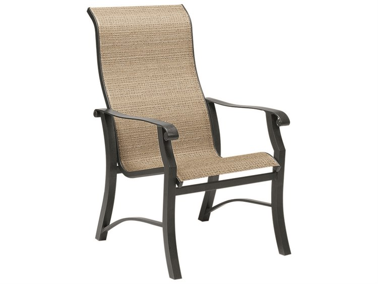 Woodard Cortland Sling Aluminum High Back Dining Chair PatioLiving