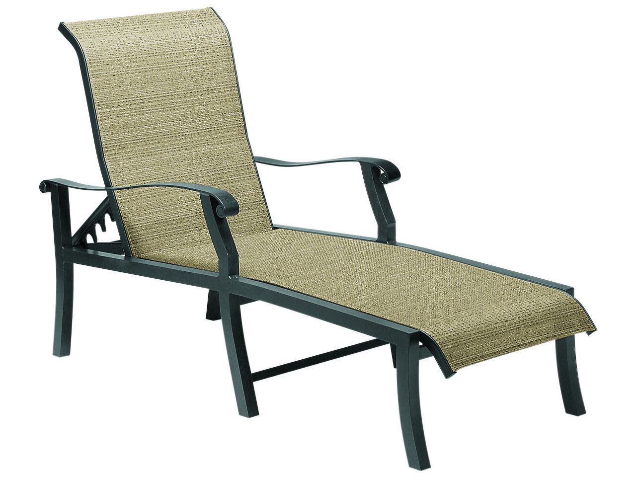 Woodard cortland sling aluminum adjustable chaise lounge for Chaise lounge construction